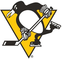 Pittsburgh Penguins Primary Logo (1973) - A penguin skating, holding a hockey stick, on a yellow triangle