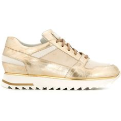 Santoni Lace-Up Sneakers ($302) ❤ liked on Polyvore featuring shoes, sneakers, metallic, gold sneakers, lacing sneakers, white lace up shoes, laced up shoes and gold lace up shoes