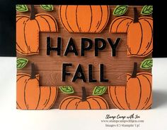 Halloween Cards, Halloween Themes, Waterfall Cards, Pumpkin Cards, Fun Fold Cards, Thanksgiving Cards, Floating Frame, Happy Fall, Fall Crafts