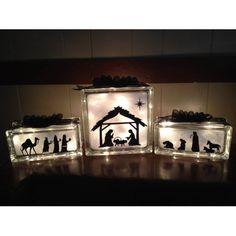 Lighted Glass Block Nativity Set