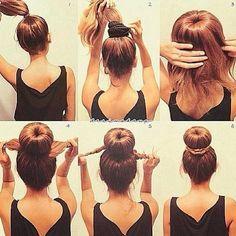 That's an easy way to do a sock bun for long hair #sockbun #easyhair #longhairstyles