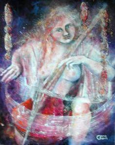 Musicienne, peinture à l'huile et collage sur toile