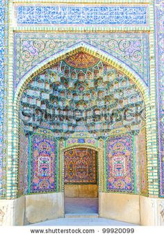 The Nasir al-Mulk Mosque is a traditional mosque in Shiraz, Iran Sacred Architecture, Beautiful Architecture, Shiraz Iran, Beautiful Mosques, Iron Work, Glass Mosaic Tiles, Islamic Art, Stock Photos, Grand Entrance