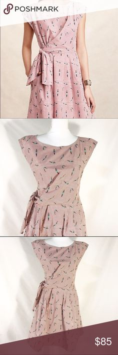 """Anthropologie Maeve Bathing Beauty Dress NWOT Anthropologie Maeve Bathing Beauty Dress Size 2 NWOT   Description Bathing Beauty dress size 2 new without tags.Vintage-inspired cotton voile. Embroidery throughout dress. Fit and flare silhouette. Tie waist detail. Side zip.  Size 2  Measurements Bust 34"""". Natural Waist 26"""". Hips 36"""". Length: Falls 35.5"""" from shoulder.  Condition New without tag. No flaws noted. Please note line across brand. Anthropologie Dresses"""