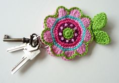Etsy listing for a crochet key cover, I love this idea Crochet Key Cover, Love Crochet, Crochet Gifts, Crochet Flowers, Appliques Au Crochet, Crochet Motif, Knit Crochet, Crochet Keychain, Yarn Crafts