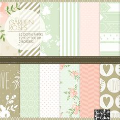 Rustic floral shabby chic digital paper and borders. mint, blush, pink, beige digital paper. hearts. Garden roses kit. instant download png on Etsy, $4.20