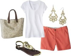Summer Outfit 1 White T-shirt + Bright Shorts + Statement Earrings + Metallic Sandals