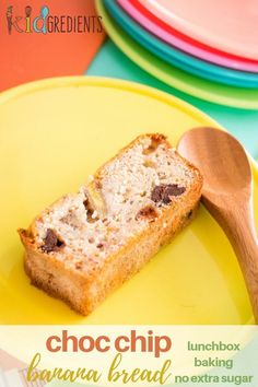 Choc chip banana bread with no added extra refined sugar.  Super yummy, easy make and freezer friendly.  Great for the lunchbox! #kidgredients #kidsfood #bananabread #baking #lunchbox  via @kidgredients