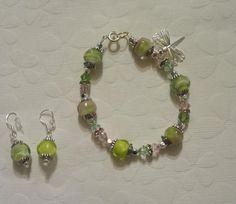 Green/Pink Lampwork Bracelet + Earrings