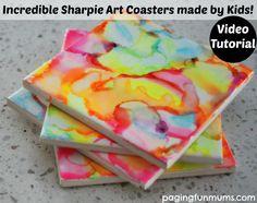 Incredible sharpie art coasters