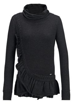 knitted hig neck sweater with ruffles <3