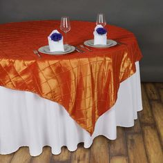 """85"""" x 85"""" Orange Pintuck Square Overlay Rainbow Wedding Decorations, Banquet Decorations, Parties Decorations, Wedding Ceremony Decorations, Table Overlays, Black Tablecloth, Pin Tucks, Colourful Balloons, Halloween Party Decor"""