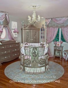 "Princess Fairytale Nursery By Sweet Lullaby Interiors Features ""La Belle Princesse"" Custom Canvas Art From Dish And Spoon Productions."