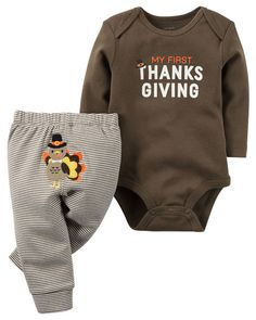 Carter's 2 Piece Thanksgiving Bodysuit and Pant Set - NB