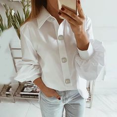 Long Lantern Sleeve Elegant Shirts Korean Blouse - Express your Individual Style - outfits and accessories for your professional and casual wardrobe. White Shirts Women, Blouses For Women, Korean Blouse, Loose Shirts, Work Tops, Online Fashion Stores, Long Blouse, Shirt Sleeves, Casual Shirts
