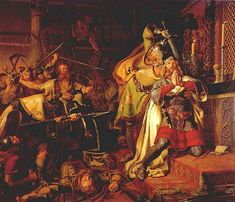 The death of Canute the Holy. Painting by Christian Albrecht von Benzon