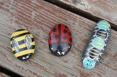 Hand Painted Stone Garden Buddies Ladybug / Bee / Caterpillar. $10.00, via Etsy.