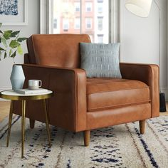 Accent Chairs You'll Love in 2020 Design Living Room, Living Room Accents, Accent Chairs For Living Room, Brown Leather Chairs, Leather Club Chairs, Leather Living Room Chair, Leather Accent Chairs, Tan Leather Armchair, Leather Armchairs