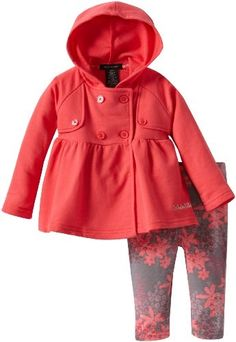 Calvin Klein Baby-Girls Infant Jacket With Printed Pant, Coral, 18 Months