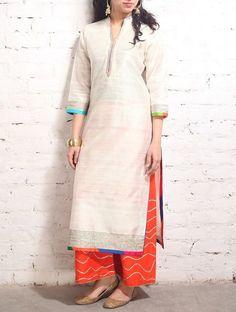 Buy Ivory Golden White Gota Work Raw Silk Tunic Online at Jaypore.com