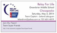 I created business cards for Our Relay for Life Team so that I can stick them on our donation jars and hand them out.