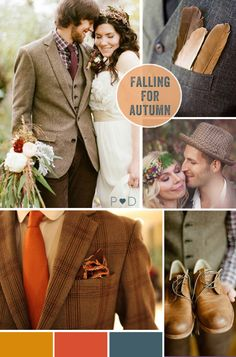 Autumn, Autumnal, Fall, Falling for Autumnal, bride, groom, bridal look, bridal look book, bride with cardigan, groom look, groom styling, tweed suit