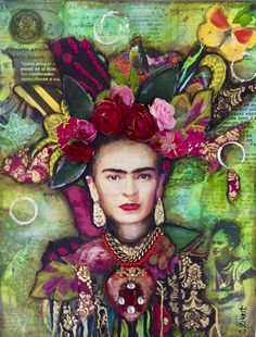Frida Kahlo With Her Flowers art print by Carrie Eckert. Our prints are produced on acid-free papers using archival inks to guarantee that they last a lifetime without fading or loss of color. All art prints include a 1 Mixed Media Canvas, Mixed Media Collage, Diego Rivera, Frida Art, Frida Kahlo Artwork, Kahlo Paintings, Deco Boheme, Poster Prints, Art Prints