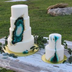 Teal To Emerald Green Beauty Geode Cake  stacked cake carved geode crevice, covered in fondant, with sugar crystal geode and real gold leaf www.thelondonbaker.com, created by...