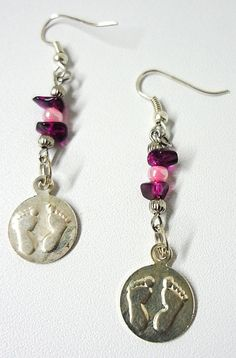 Purple Stone and Pink Shimmer Footprints by MyArtisticLife on Etsy, $10.00