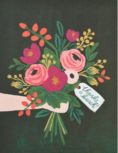 """Rifle Paper """"Thanks a Bunch"""" Notecard Set Floral Illustrations, Illustration Art, Happy Birthday Wallpaper, Thanks A Bunch, Rifle Paper Co, Arte Floral, Gouache Painting, Watercolor Cards, Easy Drawings"""