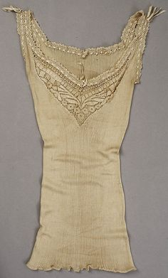 Silk and cotton wedding lingerie, American, c. 1880. Ribbed knit undervest with lace trim.