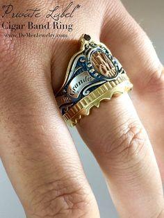 Cigar Band Initial Ring. 14k gold sterling silver by DeMerJewelry #Jewelry #Ring #Gold #black #gothic #fashion #mens #wedding #band #cigar #humidor #monogram #signet #OpusX #Tatuaje #Gurkha #Padron #Mundial #Red #Diamond #mangagement #allthehashtags
