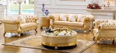 Set Kursi Sofa Mewah gold Cester | JATIKA FURNITURE