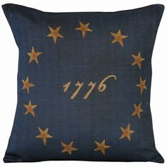 Vintage American Flag Colonial Stars Document Burlap Cotton Throw Pillow Cover