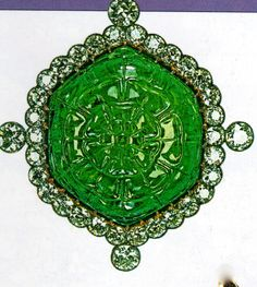 the delhi durbar brooch: this hexagonal emerald was given to Queen Mary in honor of becoming Empress of India in 1911