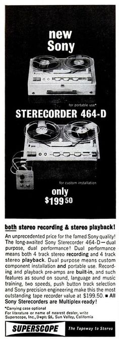 SONY 464-D advert. 1963