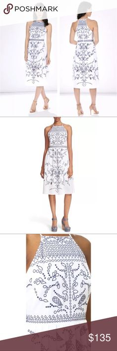 """White Parker NY Alana Sun Embroidered Eyelet Dress New Shopbop $398 White & Blue Parker NY Alana Sun Embroidered Eyelet Dress XS   SOLD-OUT EVERYWHERE  Beautifully embroidered eyelets and drop-stitch insets trace winsome charm over the crisp cotton of a sun-loving day dress designed to highlight pretty shoulders and a slender waist. A scalloped peekaboo hem completes the delightful design.    41"""" length (size Medium).  Hidden back-zip closure.  Halter-style neckline.  Cutaway shoulders…"""