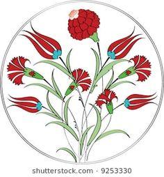 Les pages preferee Turkish Tiles, Turkish Art, Tulip Drawing, Turkish Pattern, Turkish Design, Persian Motifs, Islamic Patterns, Ceramic Figures, Plate Design