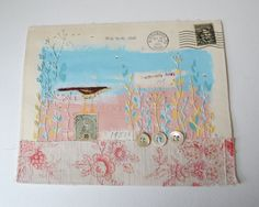 ARTWORK ORIGINAL envelope : mixed media ooak Hand by hensteeth