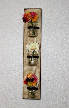 Pallet Mason Jars Hanging Wall - I would use candles instead of flowers :) ~follow me~