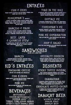 Main menu at the Leaky Cauldron.