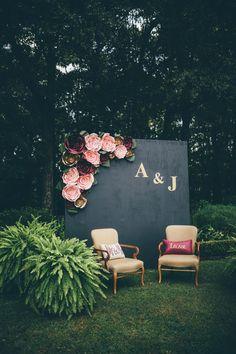 rustic paper flower decorative floral wedding backdropwall