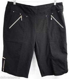 NWT-JAMIE-SADOCK-Skinnylicious-Black-with-Gold-Knee-Capri-Shorts-Size-20-31332