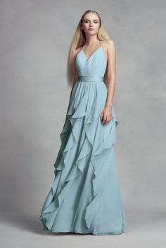 68a1468d5f Chiffon Bridesmaid Dress with Cascading Skirt Style VW360326