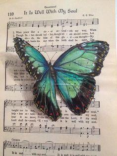 Musical Butterfly 3 - by Janette Rose (aka Janette Rose Art) Butterfly Painting, Butterfly Watercolor, Watercolor Paintings, The Butterfly, Rose Paintings, Butterfly Artwork, Sheet Music Crafts, Sheet Music Art, Borboleta Diy