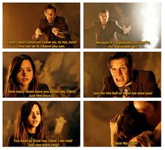 (gifset) I absolutely loved this part. Everything was all nicely tied up, the saving, that sweet post victory hug and then- Moffat!--- I might be the only fan who cheered the reveal of John Hurt. I adore him. Doctor Who Clara, Sherlock Holmes 3, You're Dead, Don't Blink, Eleventh Doctor, Geronimo, Time Lords, Blue Box, Bowties