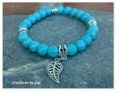 Check out this item in my Etsy shop https://www.etsy.com/uk/listing/259841351/turquoise-beaded-bracelet-with-silver #Bracelets #jewellery #beadwork #Leaf