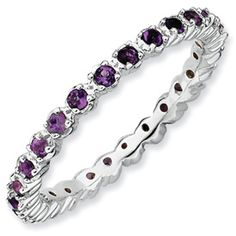 Sterling Silver Stackable Expressions Amethyst Ring QSK351