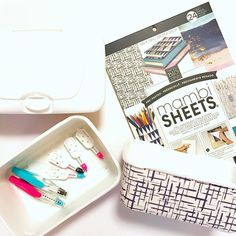 Need storage ideas for your new @meandmybigideas deco pens? Well if you're a parent you probably have a few empty baby wipes boxes laying around lol. I used the pre-pasted Mambi sheets to dress up a couple boxes and voila cute storage or catch-all bins.  #upcycle #diy