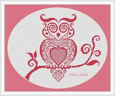 Fashionable owl (monochrome filigree) Counted Cross Stitch Pattern / Instant Download Epattern
